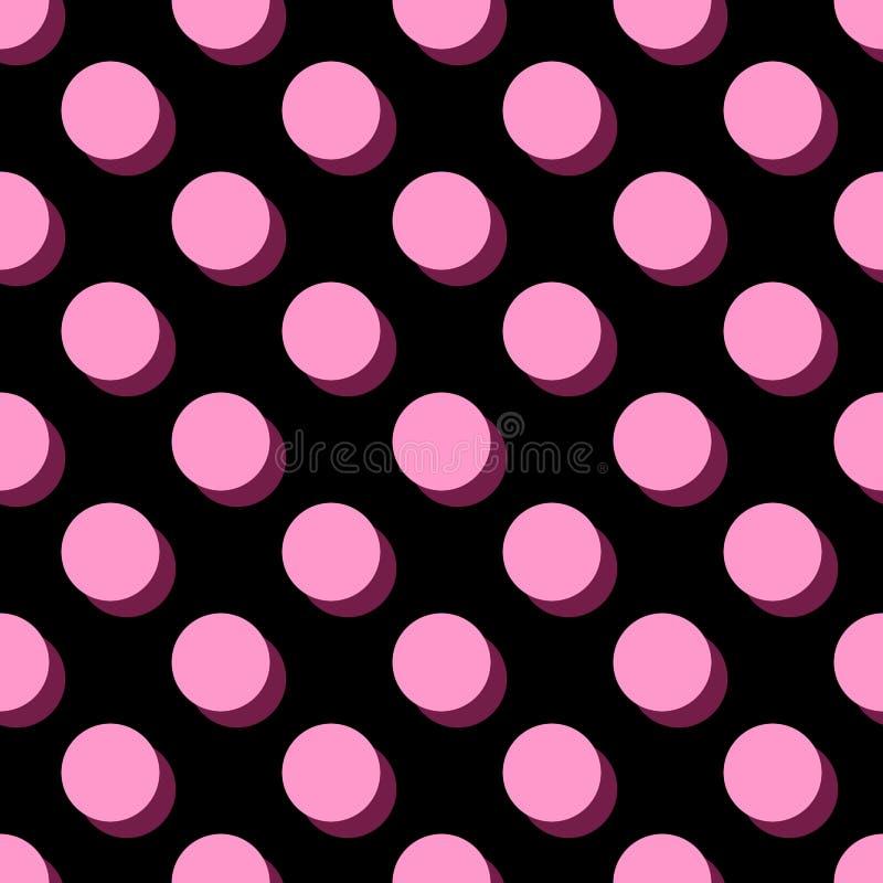Piastrelli pois rosa del modello di vettore i grandi su fondo nero royalty illustrazione gratis