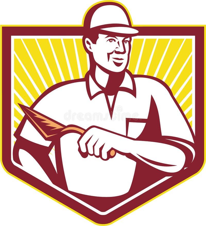 Piastrellista Plasterer Mason Masonry Worker Retro illustrazione di stock