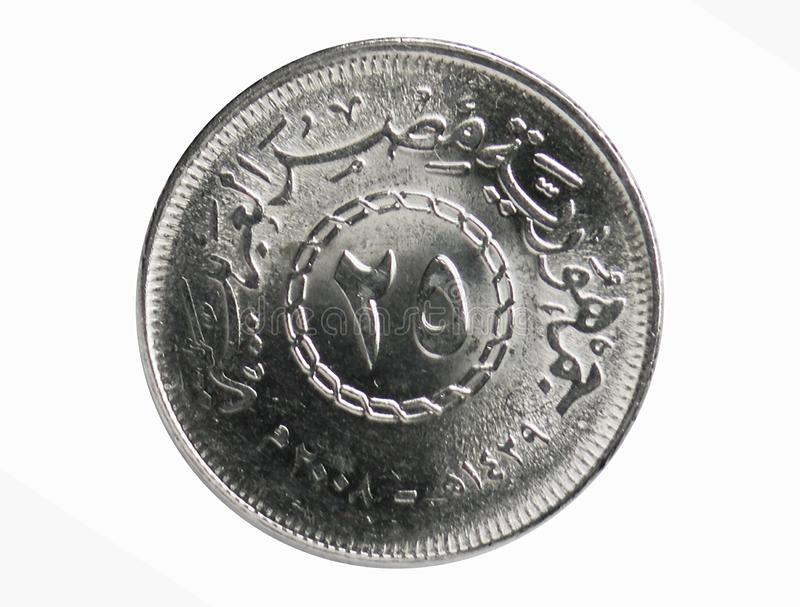 25 Piastres coin, 1972~Today - Arab Republic Circulation serie, Bank of Egypt. Reverse, issued on 2008. Isolated on white stock image