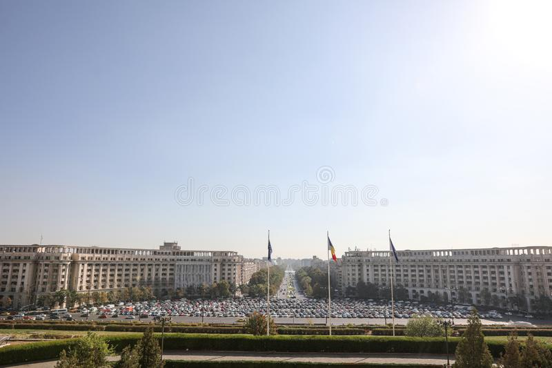 Piata Constitutiei Constitution Square with a big parking lot in downtown Bucharest, as seen from the Palace of Parliament. Bucharest, Romania - October 1, 2019 royalty free stock photos