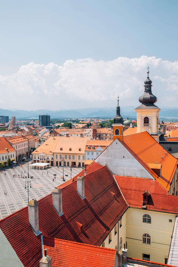 Piata Mare Large Square from Council Tower in Sibiu, Romania. Piata Mare Large Square from Council Tower at Sibiu, Romania royalty free stock images