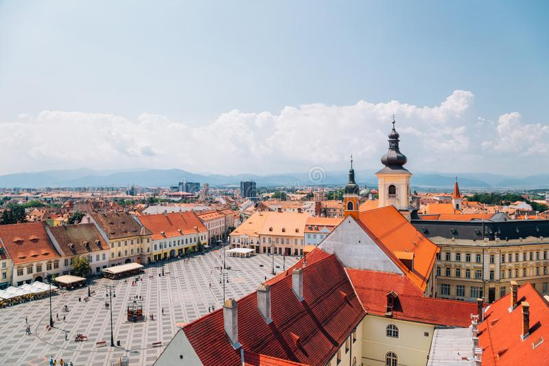 Piata Mare Large Square from Council Tower in Sibiu, Romania. Piata Mare Large Square from Council Tower at Sibiu, Romania royalty free stock image