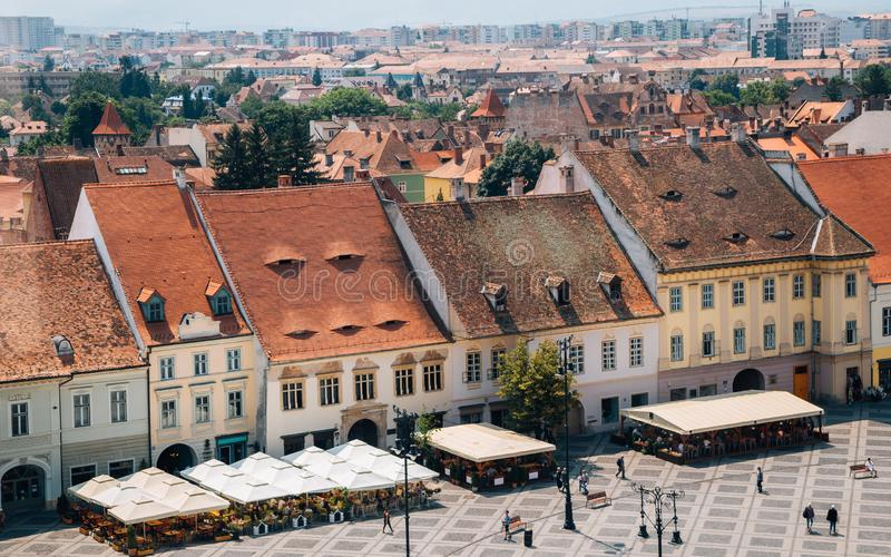 Piata Mare Large Square from Council Tower in Sibiu, Romania. Piata Mare Large Square from Council Tower at Sibiu, Romania stock photo