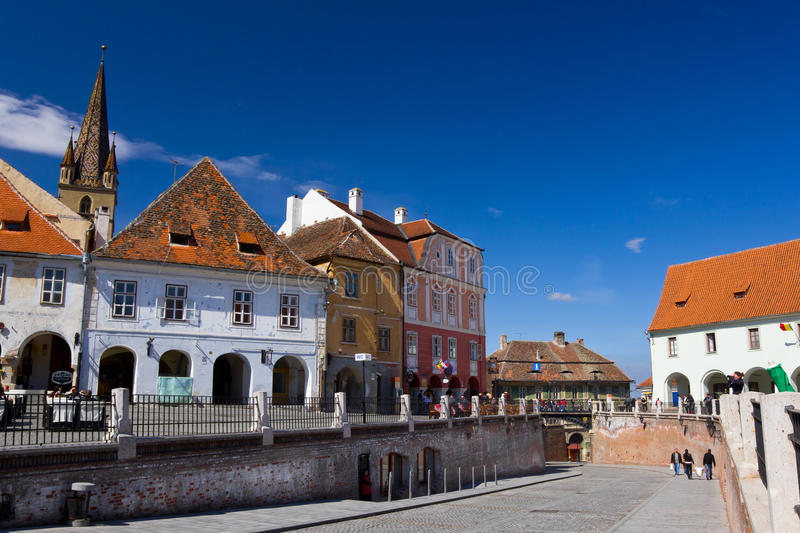 Piata Mica - Sibiu. Historic buildings of Sibiu old town center in the Piata Mica square. Transylvania Romania stock photos
