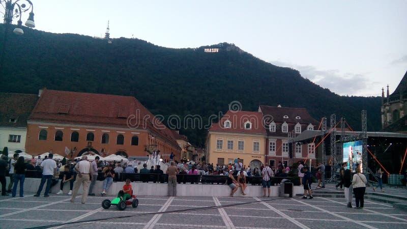 Piata sfatului布拉索夫罗马尼亚 免版税图库摄影
