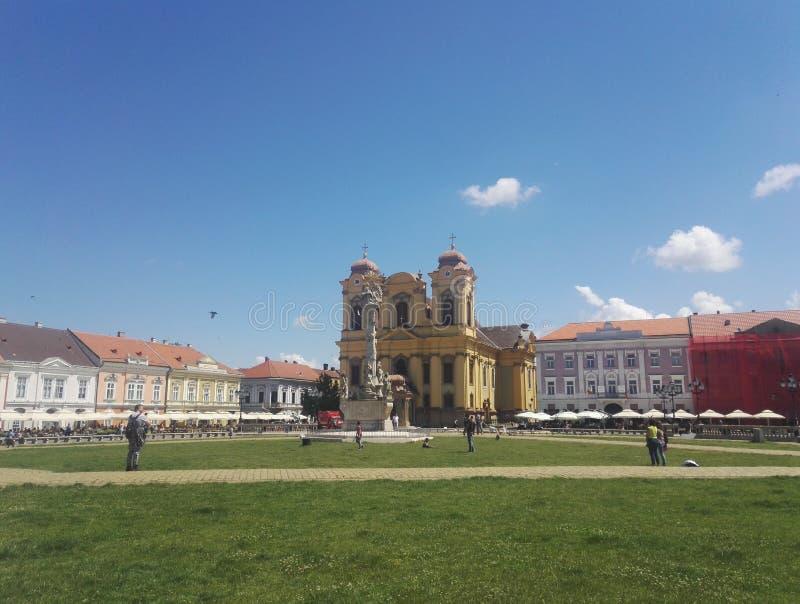 Piata Unirii Union-vierkant in Timisoara, Roemenië stock foto's