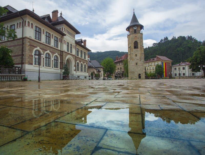 Piatra Neamt centrum i Rumänien arkivfoto