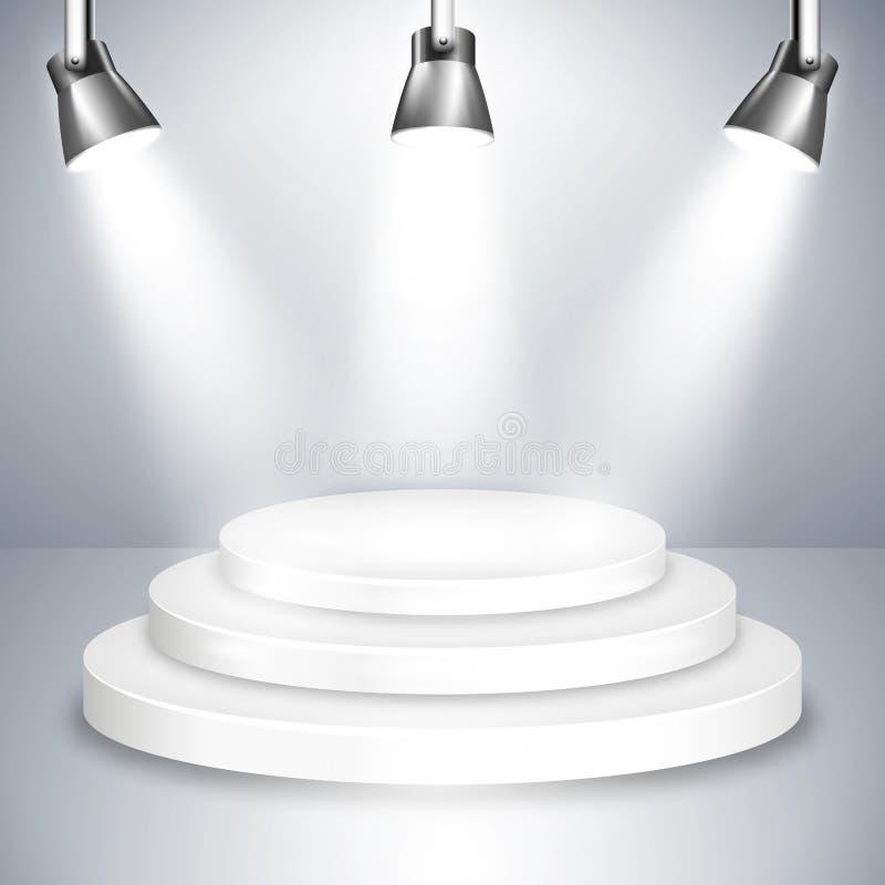 Piattaforma bianca della fase illuminata dai riflettori royalty illustrazione gratis