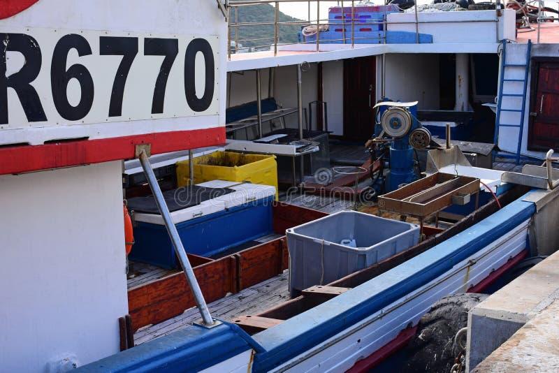 Piattaforma del peschereccio, baia di Hout, Sudafrica fotografia stock
