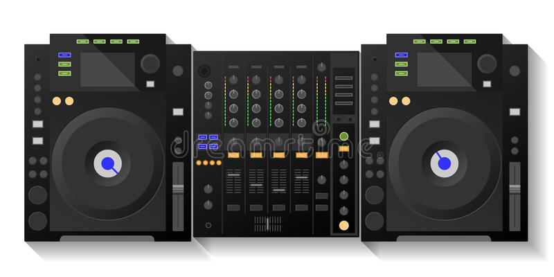 Piattaforma di Digital DJ, miscelatore Vettore fotografie stock libere da diritti