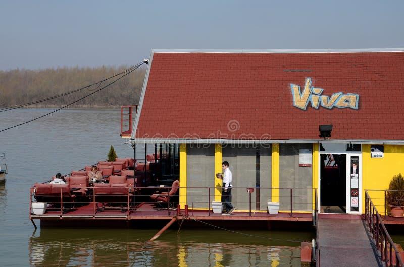 Piattaforma di galleggiamento Sava River Belgrade Serbia del ristorante fotografie stock