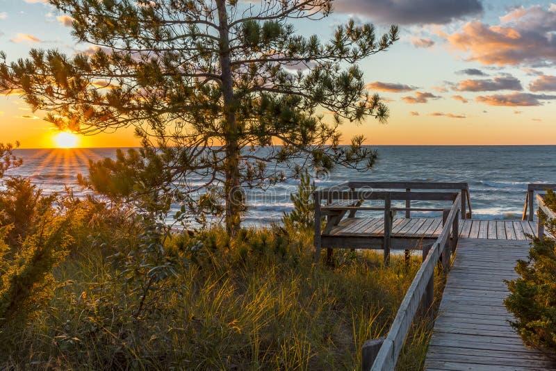 Piattaforma di legno che trascura un tramonto del lago Huron - Ontario, Canada immagine stock