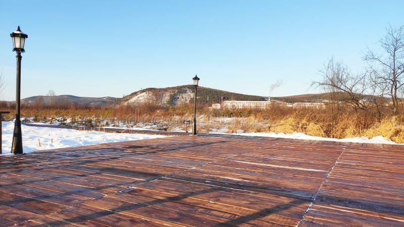 Piattaforma di legno del Wetland Park fotografie stock