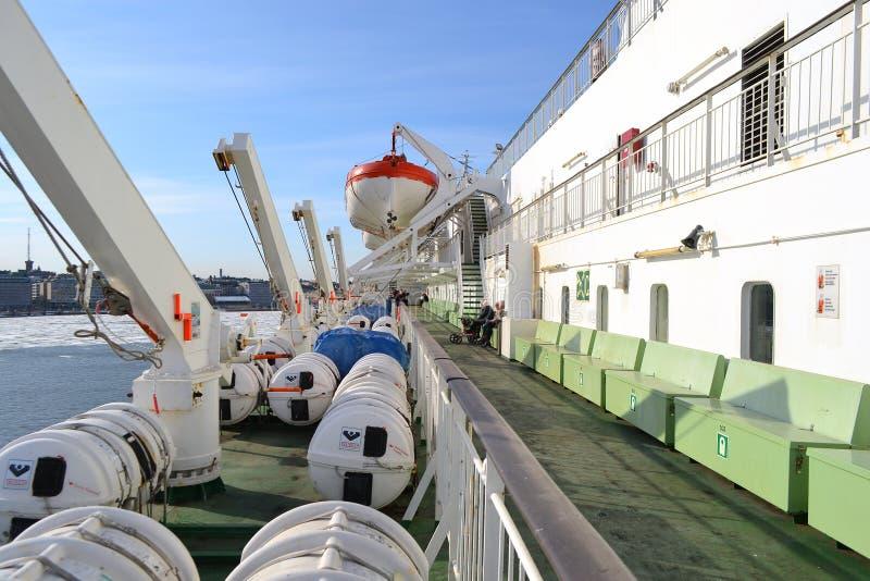 Piattaforma di un traghetto Silja Line fotografia stock