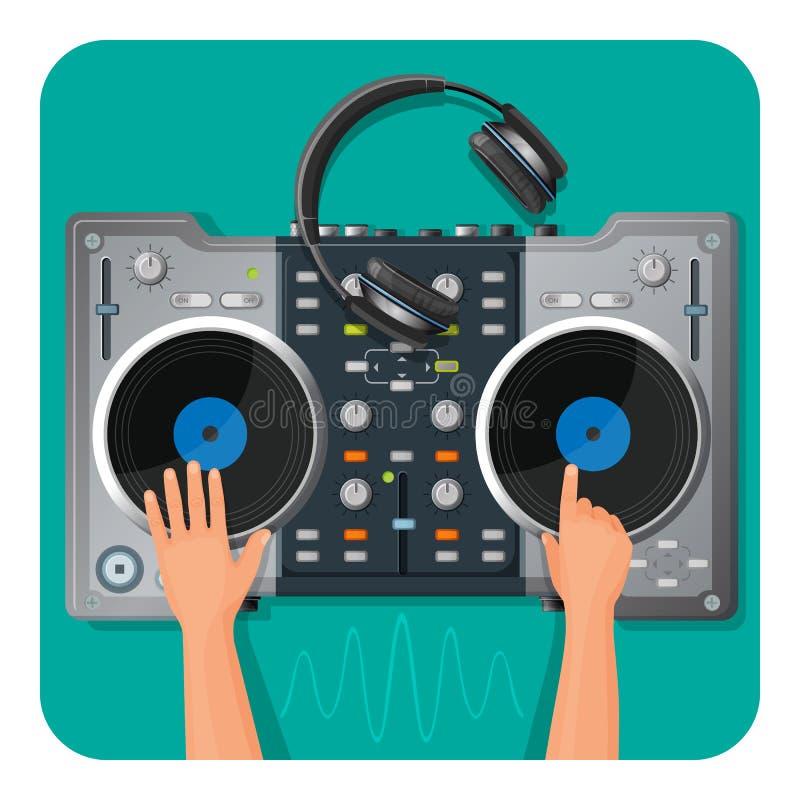 Piattaforma girevole del DJ, cuffie moderne e mani umane che giocano la musica royalty illustrazione gratis