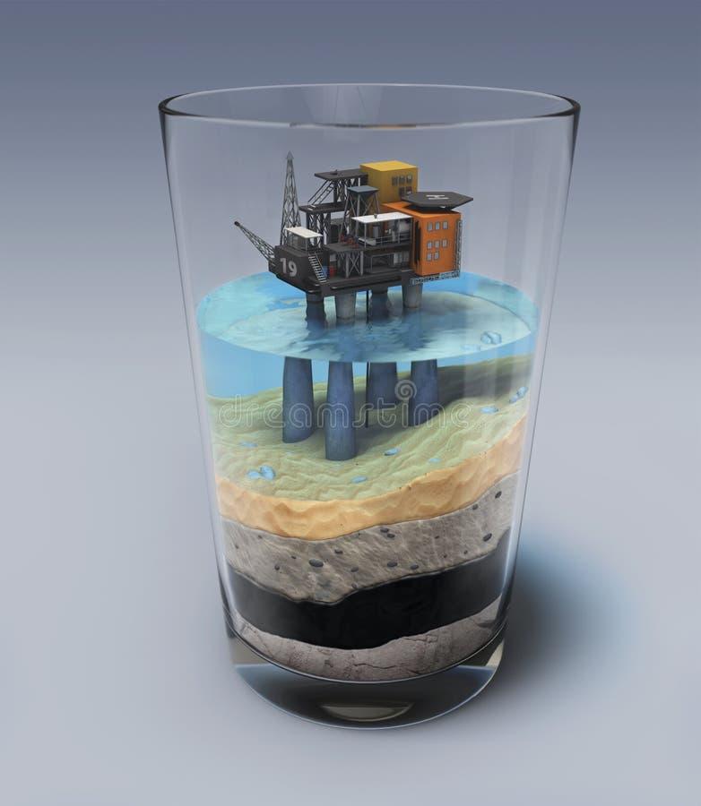 Piattaforma petrolifera nel vetro immagini stock