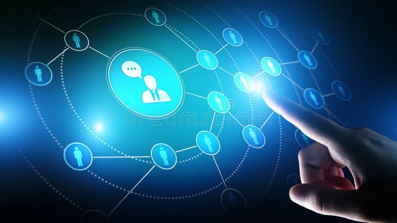 Piattaforma sociale di media, struttura di comunicazione del cliente, SMM, vendita Concetto di tecnologia di affari e di Internet fotografie stock libere da diritti