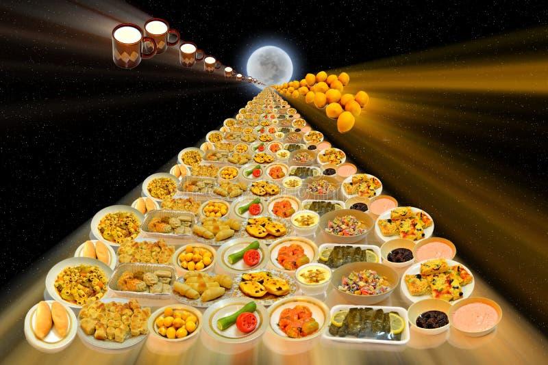 Piatti arabi dell'alimento lungo la vista alla luna royalty illustrazione gratis