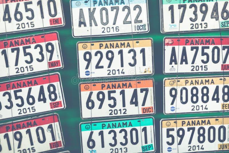 Piatti di immatricolazione dei veicoli del Panama fotografia stock libera da diritti
