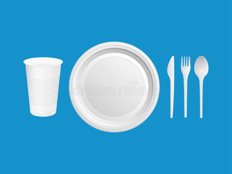 Piatti di plastica eliminabili Vetro, coltello, forcella, cucchiaio su un fondo blu Illustrazione di vettore illustrazione vettoriale