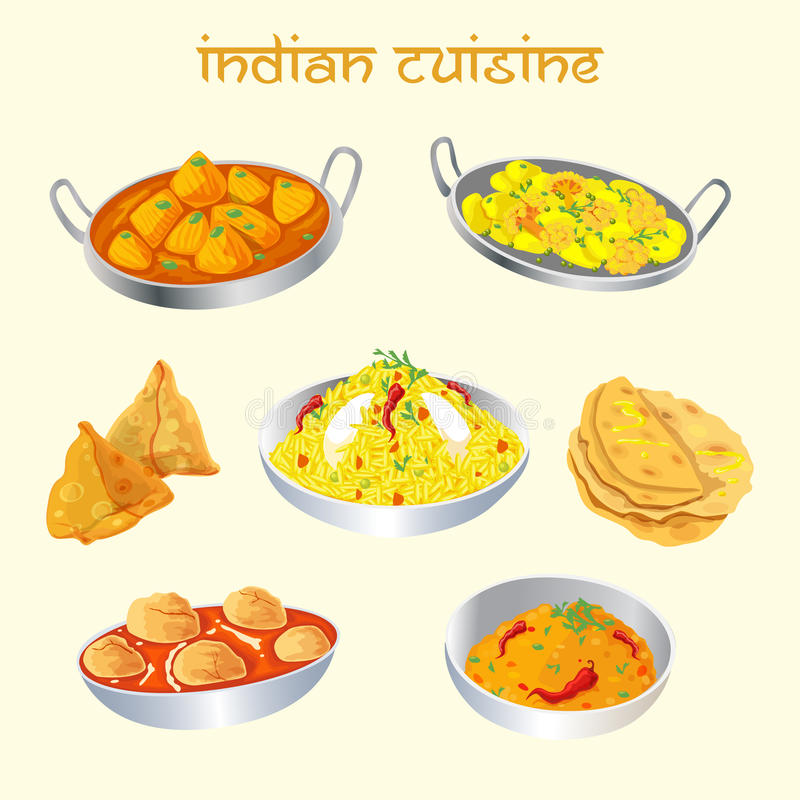 Piatti indiani di cucina messi immagini stock