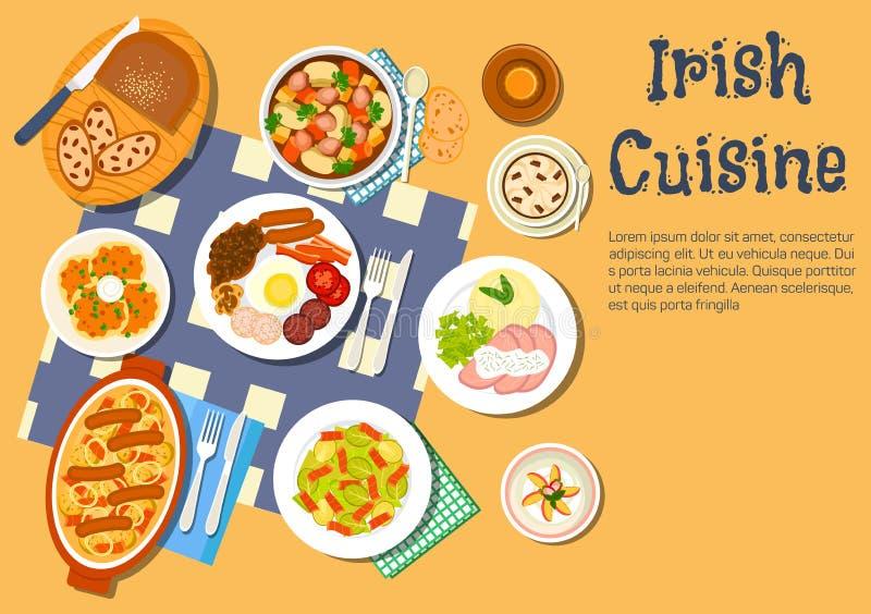 Piatti irlandesi carnosi di nutrizione per l'icona del menu della cena illustrazione vettoriale