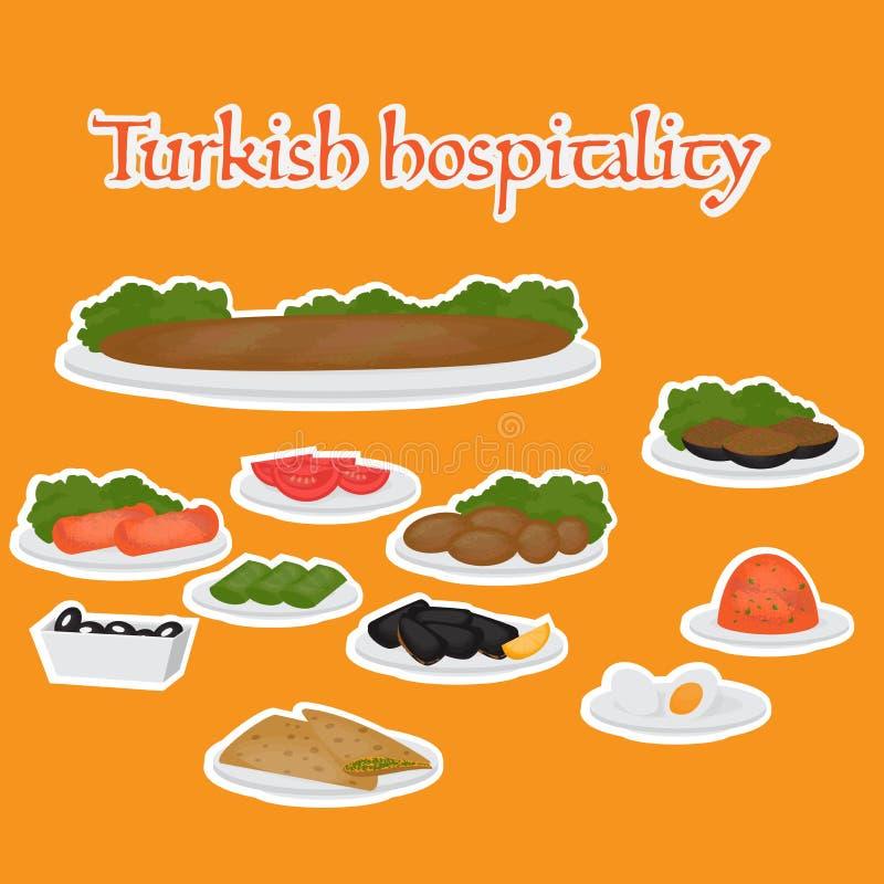 Piatti principali di ospitalità turca e laterali comuni, dessert Alimento tradizionale di cucina turca illustrazione di stock