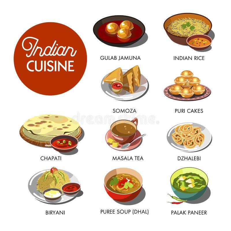 Piatti tradizionali dell'alimento indiano di cucina royalty illustrazione gratis