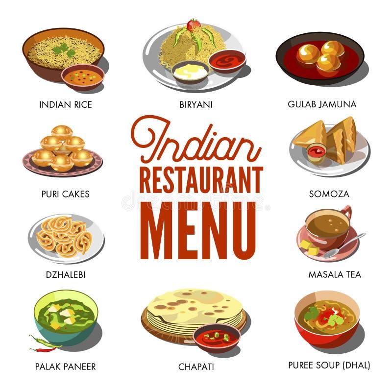 Piatti tradizionali dell'alimento indiano di cucina illustrazione di stock