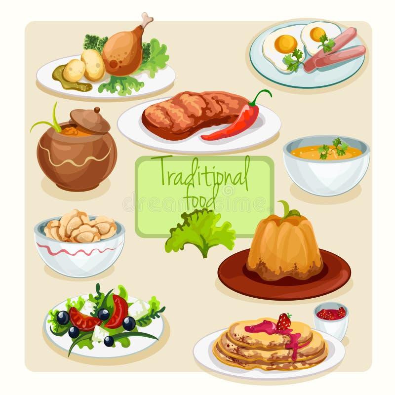 Piatti tradizionali dell'alimento messi royalty illustrazione gratis