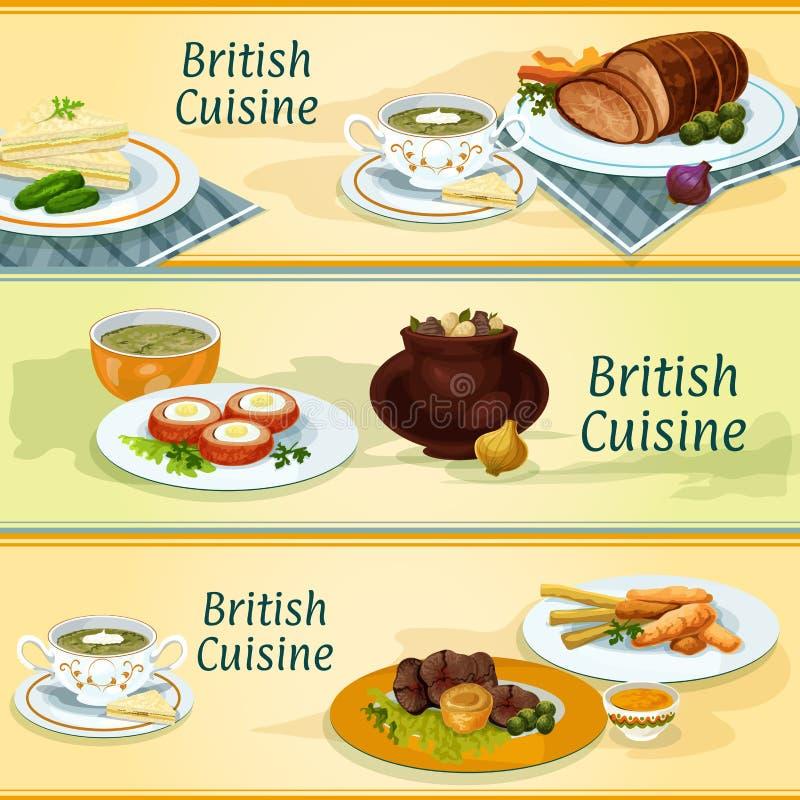 Piatti tradizionali di cucina britannica per progettazione del menu illustrazione vettoriale