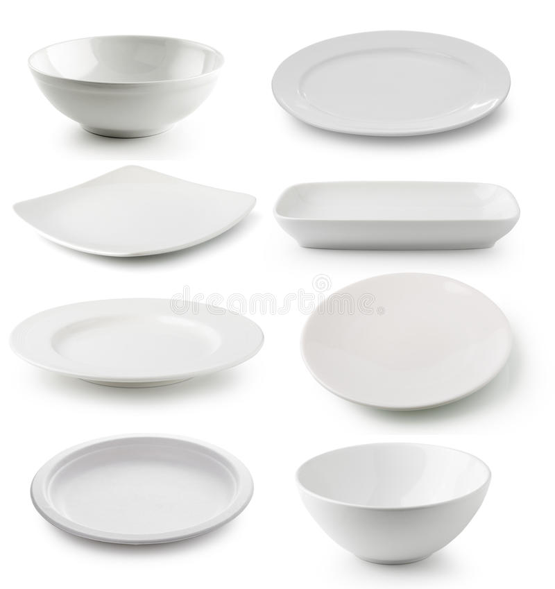 Piatto bianco e ciotola della ceramica isolati su fondo bianco immagini stock libere da diritti