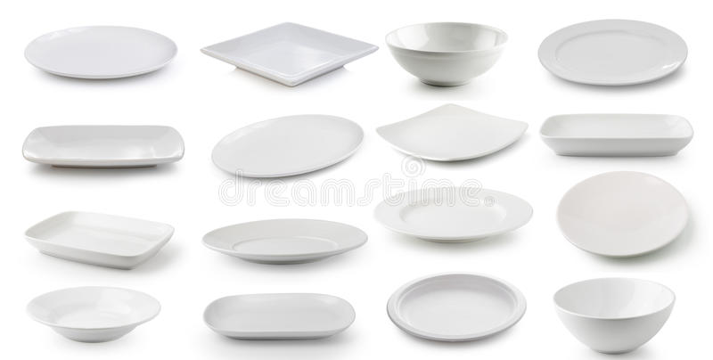 Piatto bianco e ciotola della ceramica isolati su fondo bianco fotografia stock