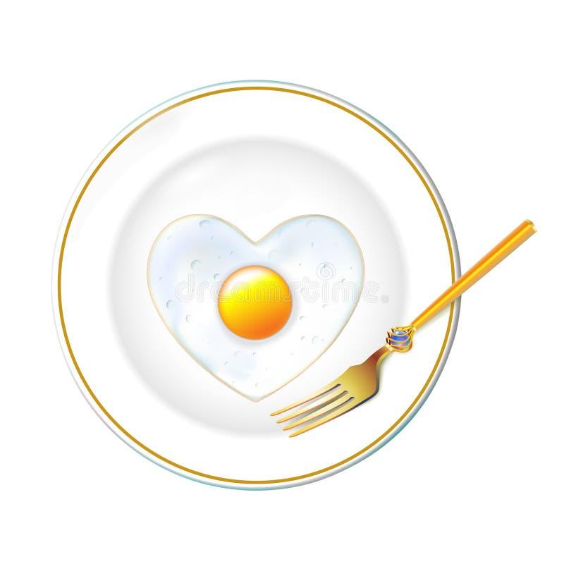 Piatto bianco, stoviglie realistiche dell'oro, uovo fritto nel cuore di forma al giorno di biglietti di S. Valentino Isolato nel  illustrazione di stock