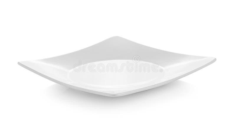 Piatto bianco vuoto su fondo bianco immagini stock libere da diritti