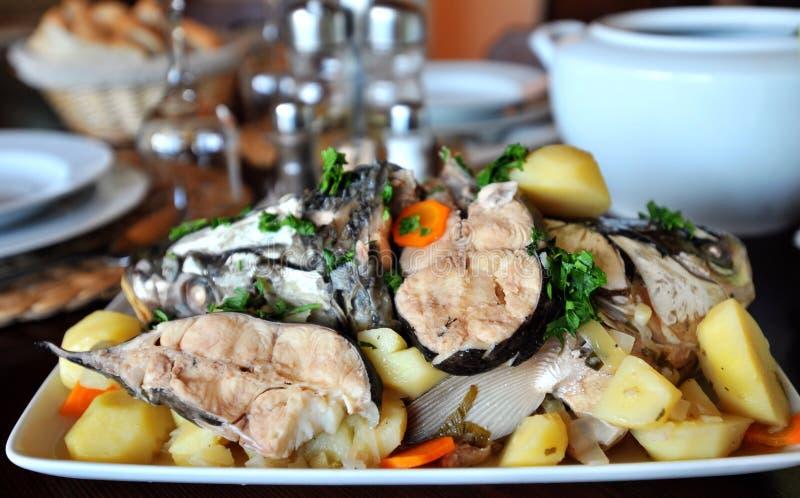 Piatto con la carne di pesce bollita immagine stock