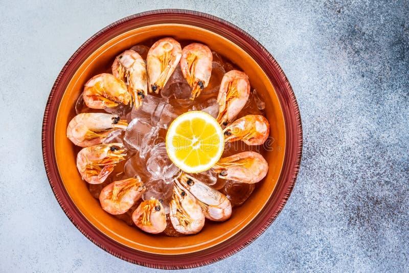 Piatto crudo dei gamberetti con le fette del ghiaccio, del limone e della limetta su un fondo creativo fotografia stock libera da diritti