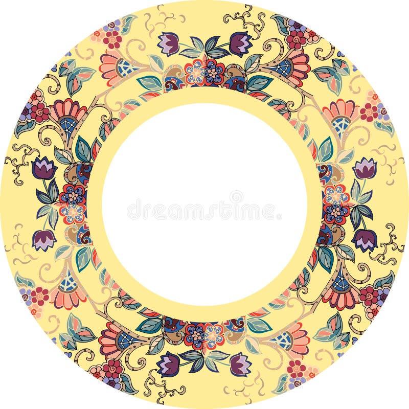 Piatto decorativo con il bello ornamento floreale su fondo giallo royalty illustrazione gratis