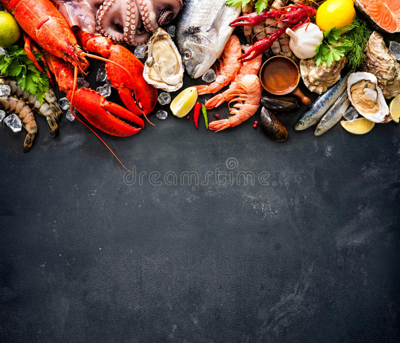 Piatto dei frutti di mare fotografie stock