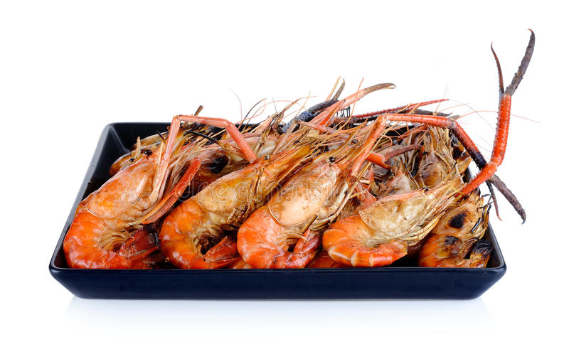 Download Piatto Dei Gamberetti Arrostiti Isolati Sui Precedenti Bianchi Immagine Stock - Immagine di seafood, fritto: 55357561