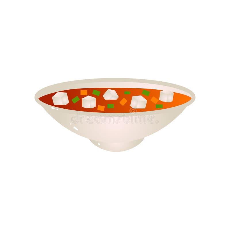 Piatto del piatto di minestra del vegano con la carota ed i piselli illustrazione vettoriale