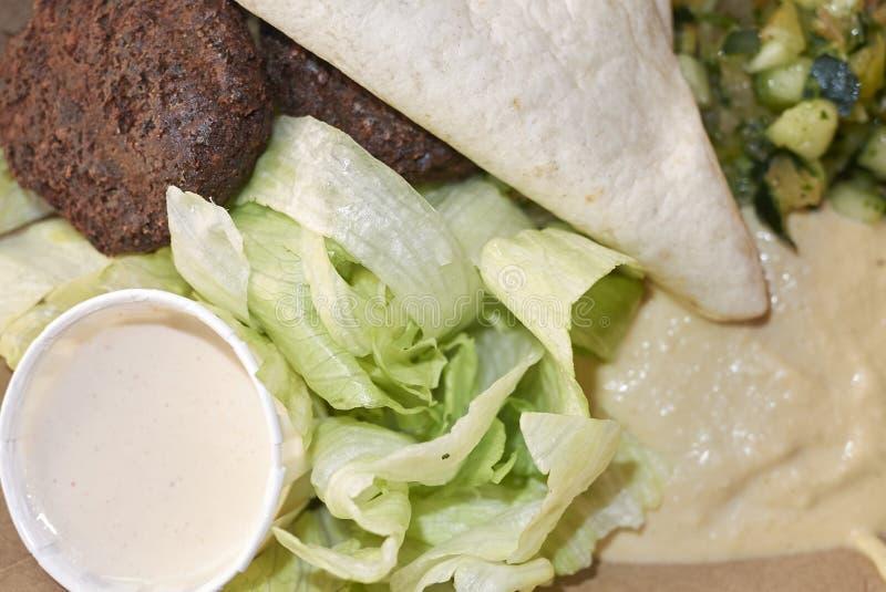 Piatto del Falafel con la pita fotografia stock libera da diritti