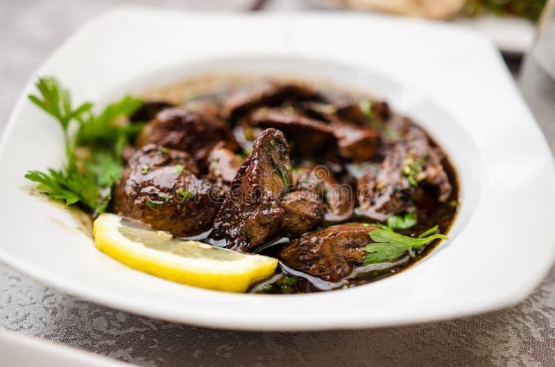 Piatto del fegato di pollo di Sawda Djej- fotografia stock libera da diritti