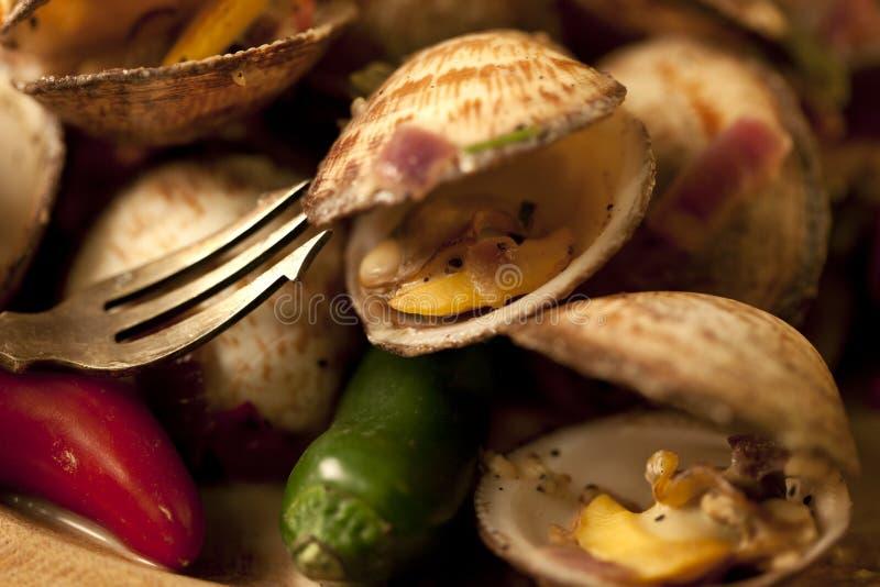 Piatto del mollusco dei peperoncini rossi. fotografia stock libera da diritti