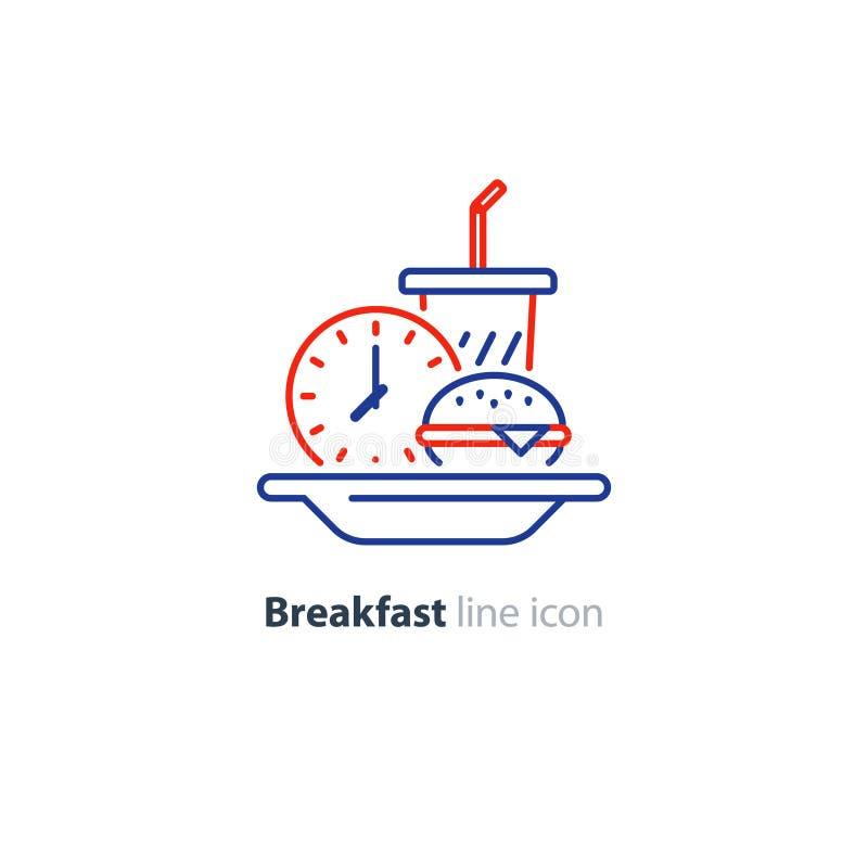 Piatto del pranzo, prima colazione precoce, hamburger e vetro della bevanda, icona dell'orologio illustrazione vettoriale
