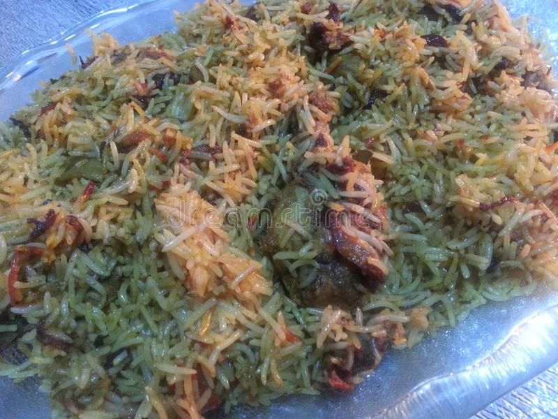 Piatto del riso cucinato speciale con manzo fotografia stock