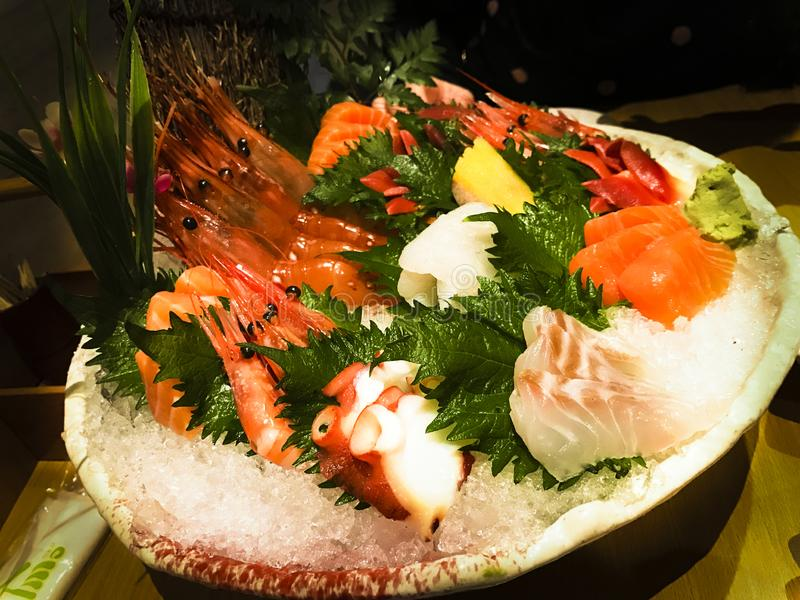 Piatto del sashimi di combinazione fotografia stock libera da diritti