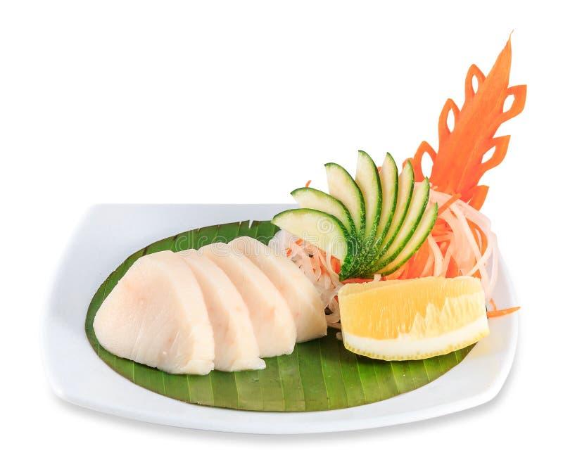 Piatto del sashimi isolato su fondo bianco con il percorso di ritaglio fotografia stock