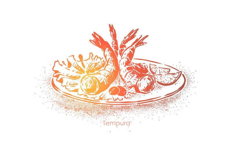 Piatto delizioso della tempura, gamberetti cucinati in pastella e fritti in aperitivo ad immersione e saporito, cottura orientale illustrazione vettoriale