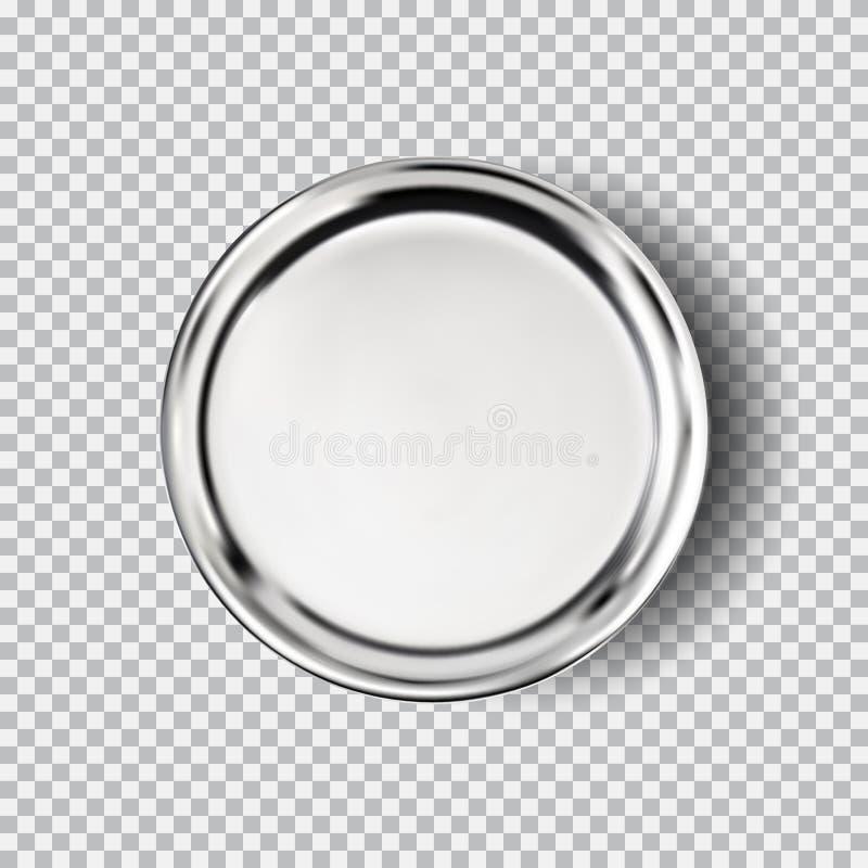 Piatto dell'acciaio al cromo del metallo su fondo trasparente illustrazione di stock
